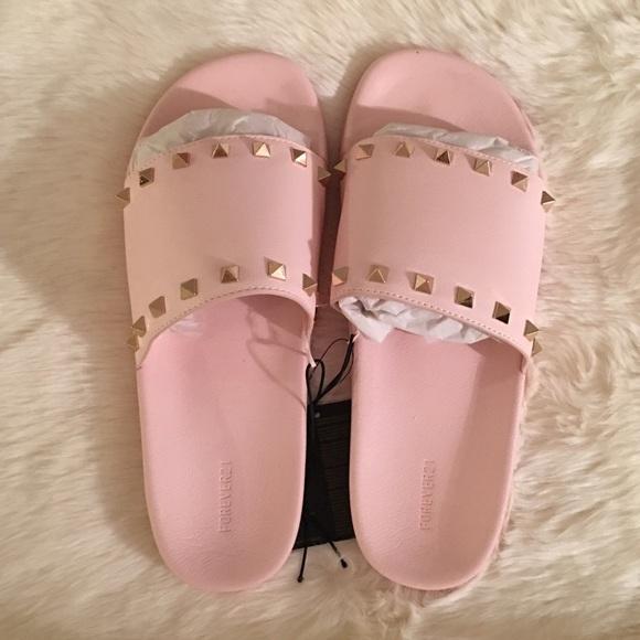 ce98bcc3a73f Forever 21 Rock stud slide sandals pink 9